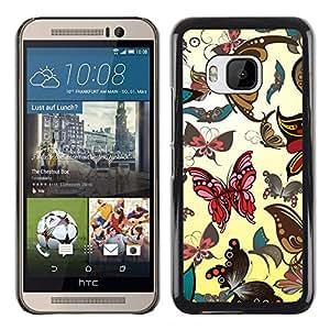 KOKO CASE / HTC One M9 / butterflies bugs art wallpaper colorful art / Slim Black Plastic Case Cover Shell Armor