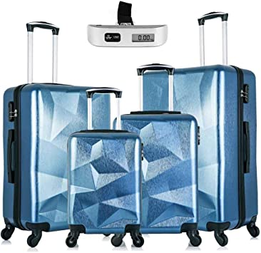 Suitcase Set PC TPE Spinner Wheels Lightweight Hardside with FREE Luggage Scale 18 20 24 28 Blue Paddie Luggage Set 4 Piece