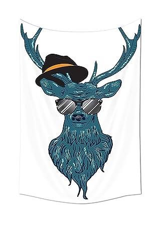 Wunderbar IPrint Geweih Dekor Bild Eines Deer Hipster Mode Brille Hut Und Schnurrbart  Mit