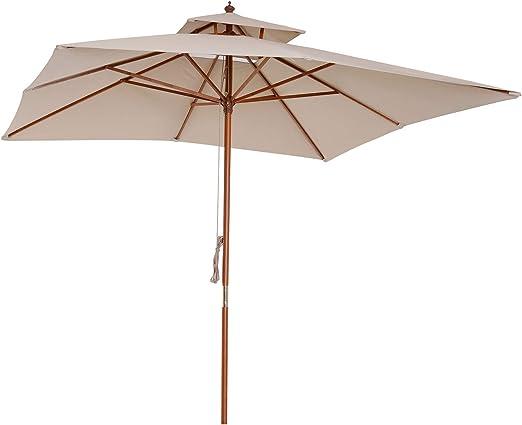 Outsunny - Parasol de Madera para jardín, 3 x 3 m, para Exteriores, Color Beige: Amazon.es: Jardín