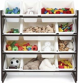 Kids Toy Storage Organizer With 12 Plastic Bins, Espresso/White