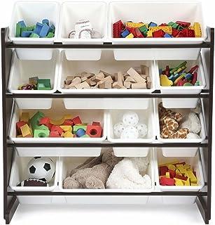 Kids Toy Storage Organizer with 12 Plastic Bins Espresso/White  sc 1 st  Amazon.com & Amazon.com: Peach Tree Toy Storage Organizer Rack Kids Book ...
