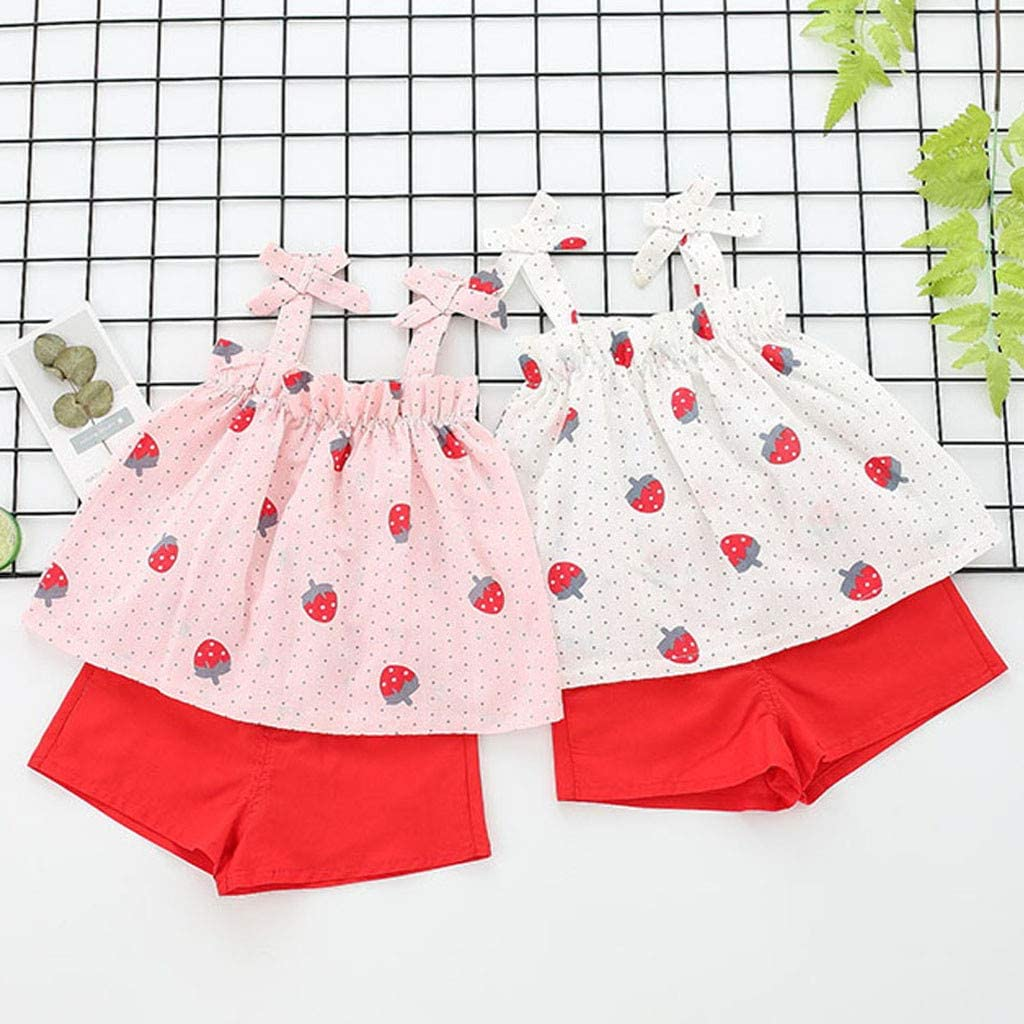 Cuekondy Toddler Baby Kids Girl Strawberry Printed Strap Tops Vest+Solid Shorts Summer Clothes Outfits