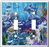 DOLPHINS SEA TURTLE OCEAN LIFE LIGHT SWITCH COVER PLATE (2x Toggle)