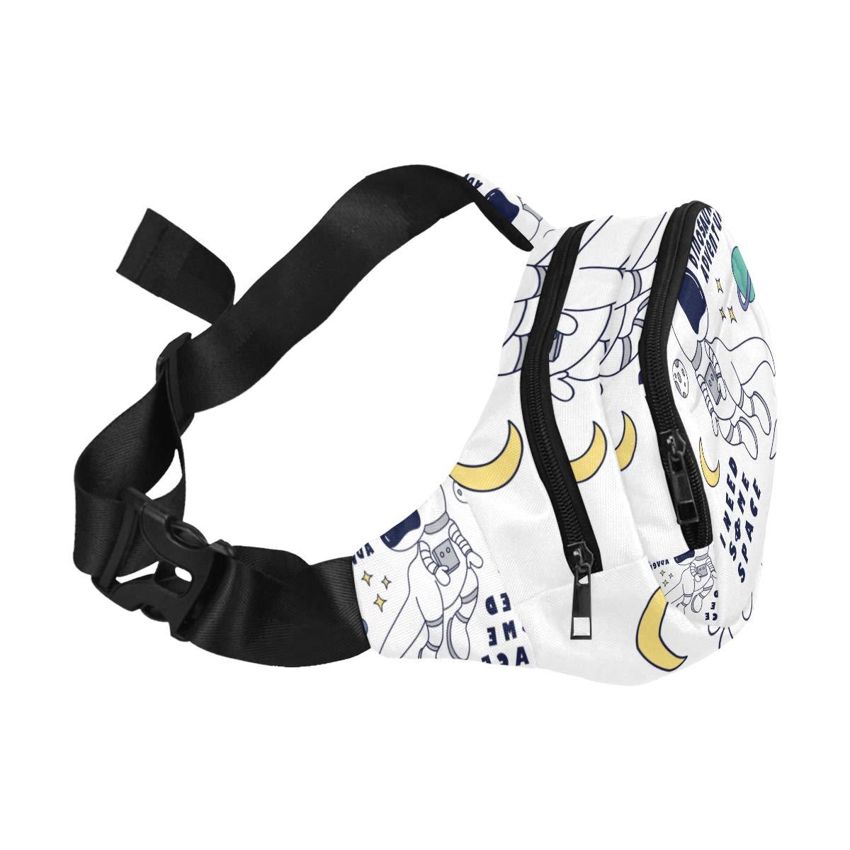 A Cute Astronaut Dinosaur Fenny Packs Waist Bags Adjustable Belt Waterproof Nylon Travel Running Sport Vacation Party For Men Women Boys Girls Kids