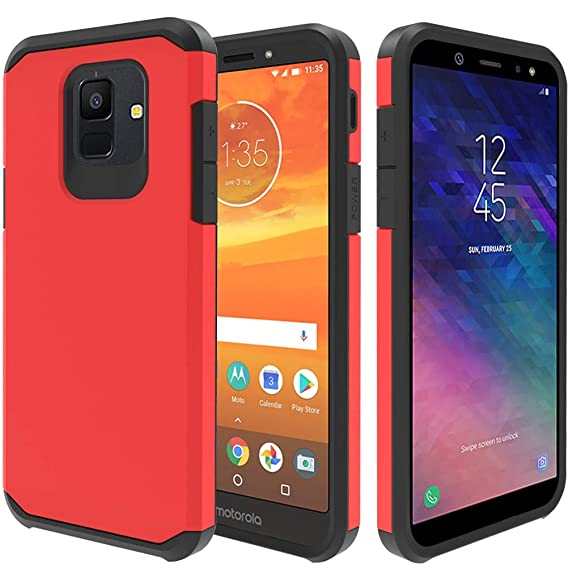 Galaxy A6 Case, Full Cover Tempered Glass Screen Protector, ATUS Hybrid Dual Layer Protective TPU Case for Samsung Galaxy A6 2018 (Red/Black)