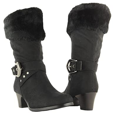 Amazon.com | Girls' Faux Fur Collar Mid Calf High Heel Winter ...