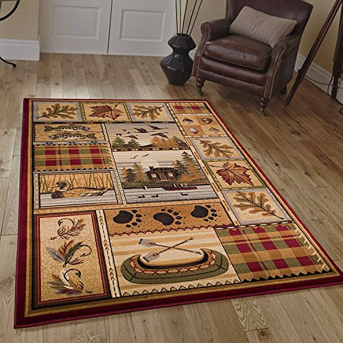 CR Wildlife Nature Cabin Lodge Scene Duck Boat Fish Area Rug (5 Feet 3 Inch X 7 Feet 5 ()