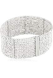 Sterling Silver Italian Rhodium Plated Beaded Bangle Cuff Bracelet