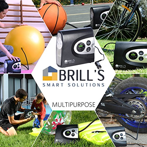 BRILL'S 12V DC Portable Tire Inflator Pump, 150 Psi Electric Air Compressor for Cars, Bikes, Motorcycles and Balls. Carry Case and USB Car Charge Included by BRILL'S SMART SOLUTIONS (Image #4)