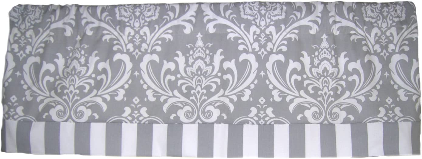 RLF Home Royal Banded Damask Straight Valance, Grey