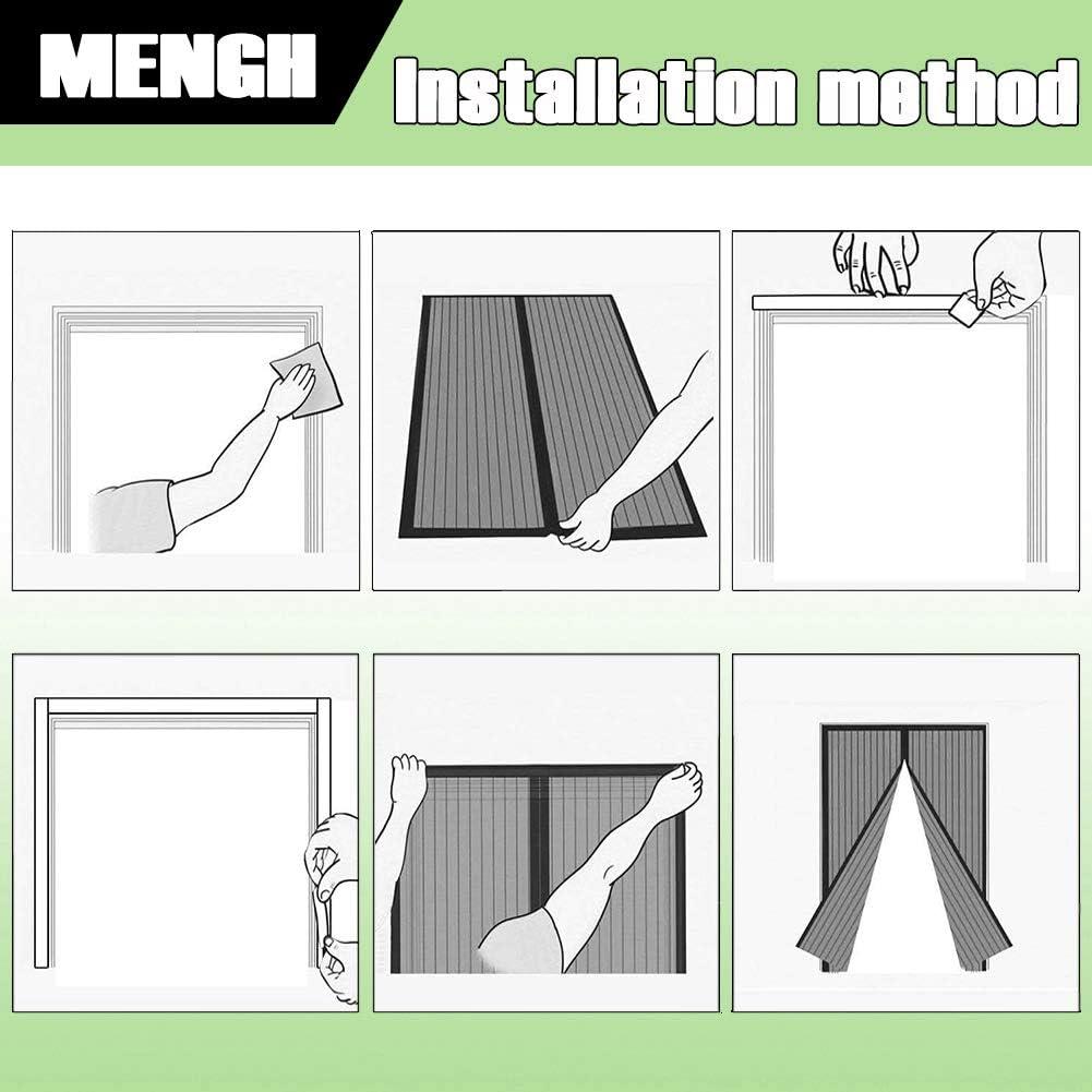 MENGH Moustiquaire Porte Magn/étique 165x220cm Mailles Ultra Fine Adsorption magn/étique Pliable Acc/ès Facile for Le Salon//Porte Patio Noir