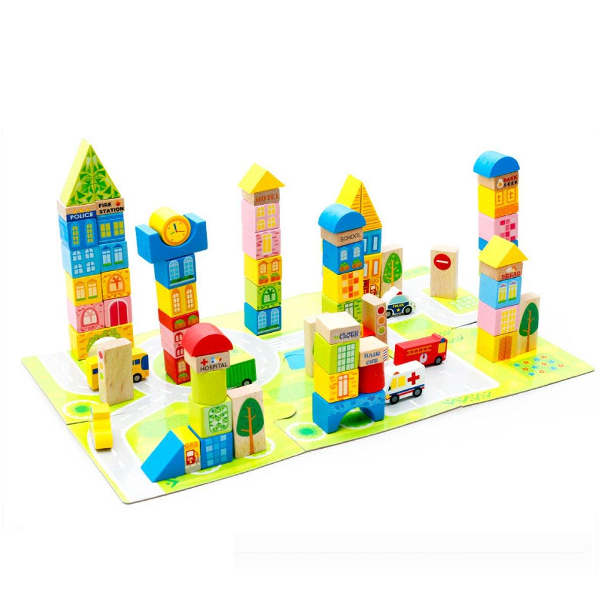 Kitchnexus Kinder Holzklotz Puzzle Holzwürfel Bunte Holzbausteine Bestes Geschenk Pädagogisches Spielzeug Set 100-teilig