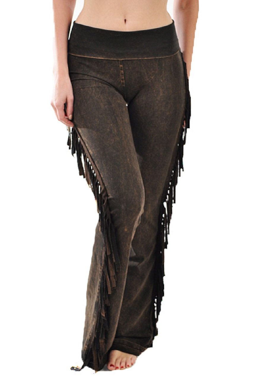 T Party Fold Over Elastic Waist Bell Bottom New Yoga Pants Pick Style. (Medium, Brown Fringe) by T Party