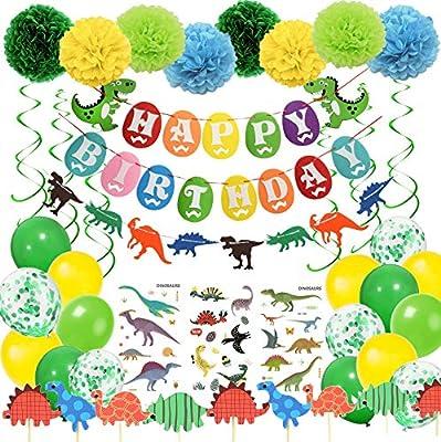 Kit de decoración de fiesta de cumpleaños con diseño de dinosaurio con tatuajes temporales de dinosaurio y espirales colgantes y pompones de papel y ...