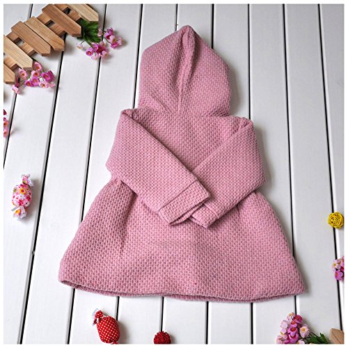 LSERVER Babay Girls Hooded Warm Wool Cotton Jacket Trench Coat Outwear Pink 80 by LSERVER (Image #2)