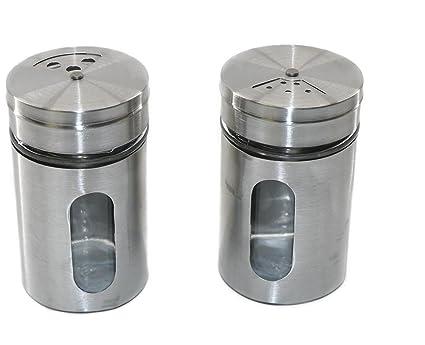 RMB® 2 Unidades de Especias Salero XL – Salero y pimentero (de Cristal y Acero Inoxidable