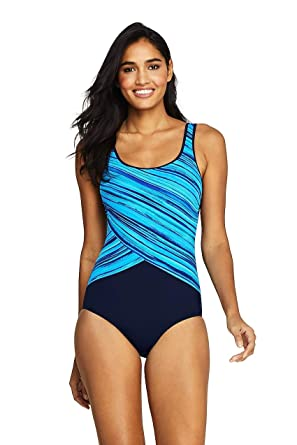 39249e76110 Lands' End Women's Tugless One Piece Swimsuit Soft Cup Print at Amazon  Women's Clothing store: