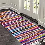 Hand Woven Multi Chindi Rug for Kitchen-Livingroom-Bedroom – 2 X 5 Feet