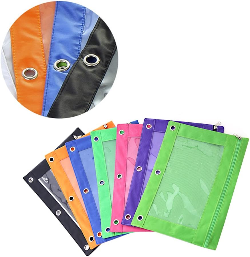 10 Pack Wire Keychains Multicolor 3 Rivet Enforced Holes Pencil Case with Clear PVC Window YuCool 6 Pack Zippered Binder Pencil Pouch with 6 Zipper Pulls