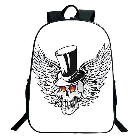a10d50c963b7 Amazon.com: 3D Print Design Black School Bag,backpacksSkull,Dead ...
