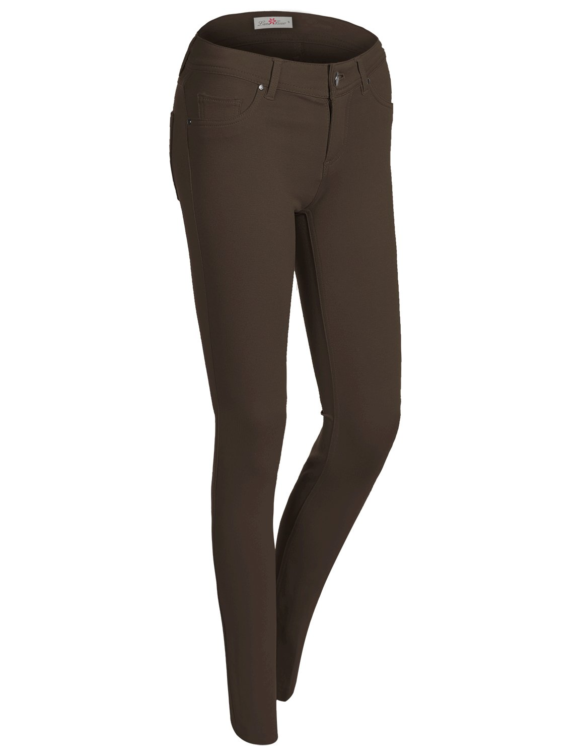 Plus Size Long Stretchy Solid Color Jegging Pants 032-Brown US 3XL