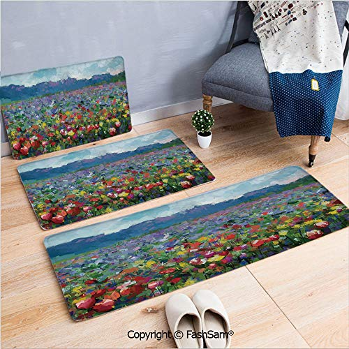 (3 Piece Flannel Bath Carpet Non Slip Rural Landscape with Bunch of Tulip Flower Spring Meadow Refreshing Botany Blurry Image Decorative Front Door Mats Rugs for Home(W15.7xL23.6 by W19.6xL31.5 by W15.)