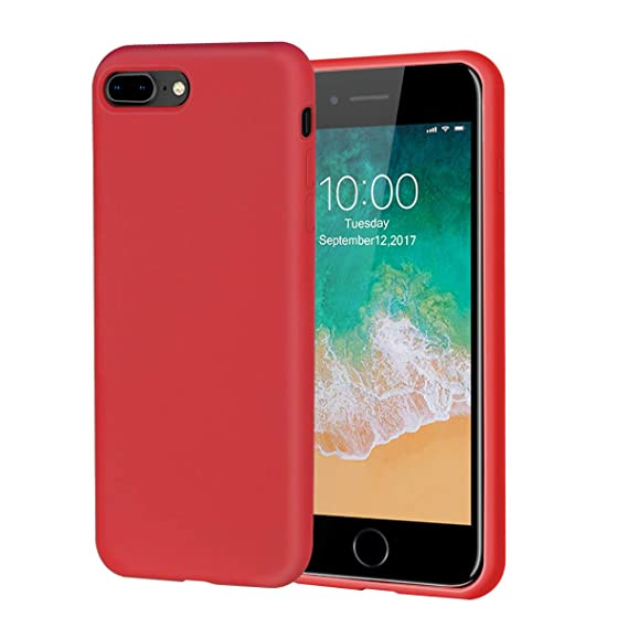 best service f96ae 1a28a iPhone 8 Plus Case,iPhone 7 Plus Case,Soft Silicone Gel Rubber Case with  Tempered Glass Screen Protector Microfiber Lining Cushion Full Protective  ...