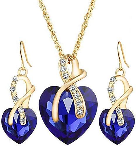Women Vintage Crystal Water Drop Pendant Choker Necklace Earrings Set Jewelry