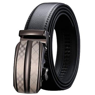 Cinturones Hombre Cuero Real Negro/Rejilla Aleación Plata ...