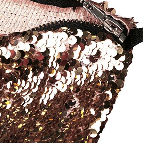 Paillette Viaggio Champagne Marsupio MagiDeal oro Trucco Sacchetto Spalla di Donne Borsa UqHwf8FA