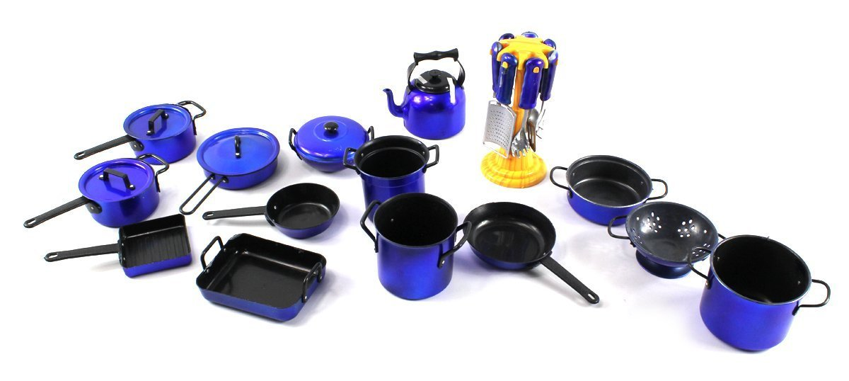 Amazon.com: Complete 21 Piece Toy Kitchen Utensils Kitchenware Play Set,  Comes W/ A Variety Of Pots, Pans, Utensils, Tea Kettle (Colors May Vary):  Toys U0026 ...