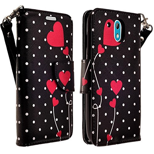 Desire 526 Case, HTC Desire 526 Wallet Case, Wrist Strap Flip Folio [Kickstand Feature] Pu Leather Wallet Case with ID&Credit Card Slot / Pockets For Desire 526 (Verizon) - Polka Dots Flower Heart