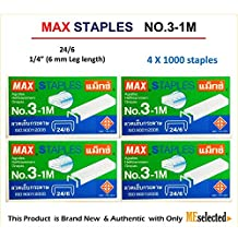 MAX No.3-1M Flat Clinch Staples (24/6) for Office Stapler - 4 Boxes (4,000-Staples) by MEselected