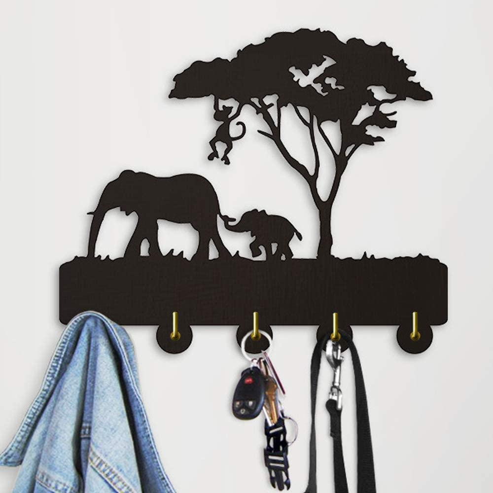Amazon Com Elephant Key Hooks Wood Coat Hooks Key Holder Key Hanger For Wall Entryway And Kitchen Unigue Wall Decor As A Gift 11 8 X 7 8 X 1inch Office Products