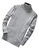 Beautface Makeup Fashion Mens Knit Slim Fit Turtleneck Soft Warm Pullovers Sweaters Light GrayUS Large