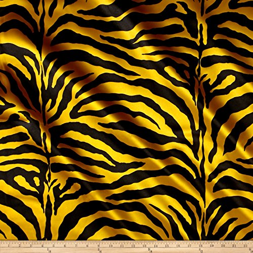 Ben Textiles Satin Zebra Fabric by The Yard, Yellow