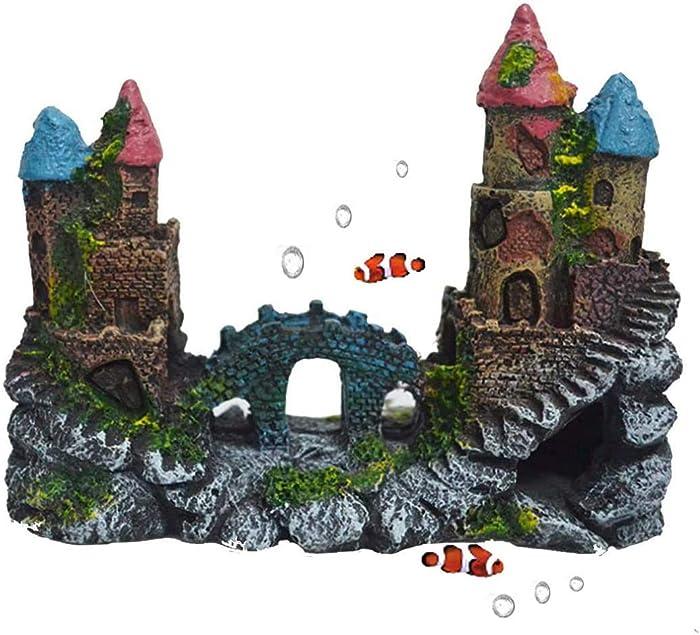 Tfwadmx Aquarium Decorations Castle,Resin Fish Tank Ornaments Castle Rock Cave Bridge Decor Betta Hideout Log for Fish Shrimp.