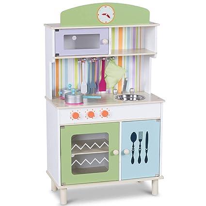COSTWAY Kinderküche Spielküche Holz Kinderspielküche Spielzeugküche  Spielzeug Holzküche mit Zubehör (Grün)