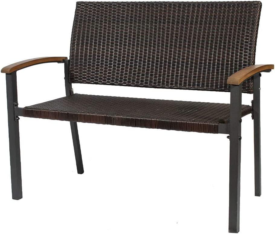 Eco Home Patio Garden Bench Outdoor Rattan Loveseat,with Armrests Sturdy Steel Frame Furniture, 500LBS Weight Capacity, for Park Yard Patio Deck Lawn for 2 Person Seat Brown