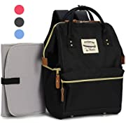 Wide Open Designer Baby Diaper Backpack By Moskka–Travel Bag, Nappy Tote Bag w/Stroller Straps, Changing Pad & Insulated Pocket For Mom & Dad -Black