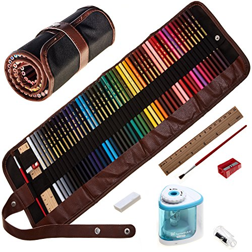 Artofcolor-Colored pencils,best set 48 multicolored,watercolor,High quality,for artists,coloring books,drawing,painting-For adults and children,with roll up case,brush,eraser,ruler,AUTOMATIC sharpener