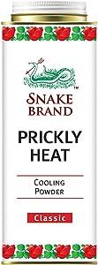 Prickly Heat Powder SNAKE BRAND (280 g.) – Heat Rash Treatment, Heat Rash Adults & Sweat Rash Symptoms Solution, Cooling Powder Classic Scent