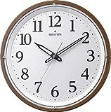 リズム時計工業 掛け時計 茶 φ33.2x5.1cm 電波 アナログ 連続秒針 暗所 ライト 自動 点灯 調光 8MY532SR06