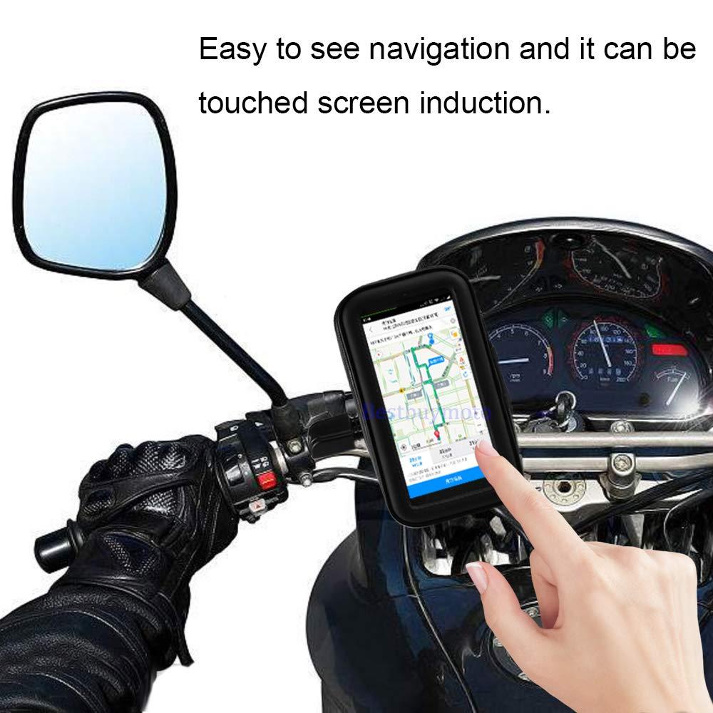 Soporte para tel/éfono de Motocicleta con rotaci/ón de 360 Grados para Moto Mobile Support para X 7 8 Plus S9 S8 S7 Cover Universal Impermeable Bolsa
