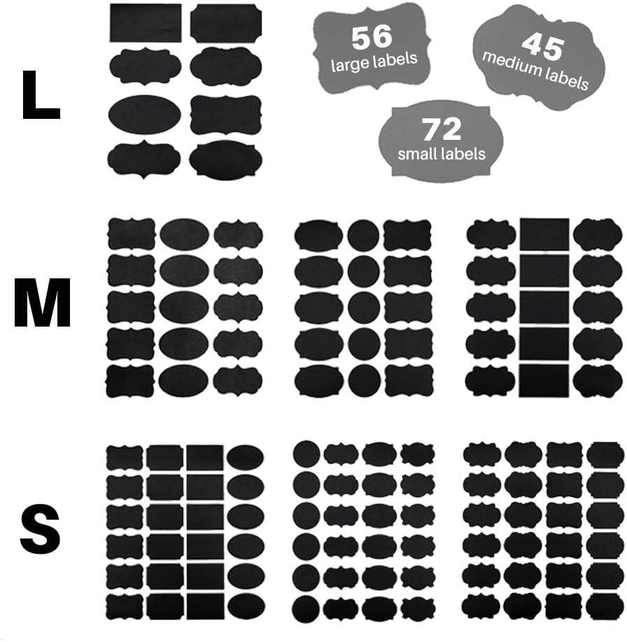 36pcs Black Bottle Sticker Label Chalkboard Tag for Jars Fancy Rectangles Oval