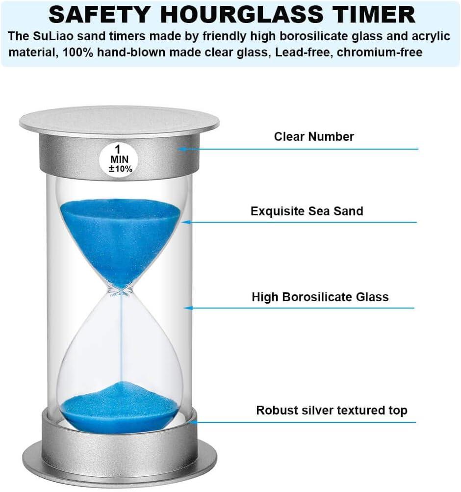 6 Colors 30 sec//1 min//2 min//3 min//5 min//10 min EORTA 6 Pcs Sand Timer Plastic Hourglass Timer Sand Clock Timer for Games Classroom Home Kitchen Cooking