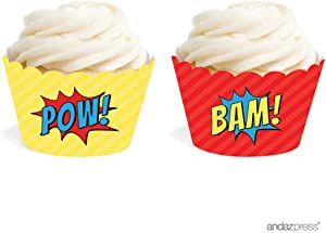 Andaz Press Birthday Cupcake Wrappers, Superhero Pow Bam, 20-Pack, Decor Decorations Wraps Cupcake Muffin Paper Holders