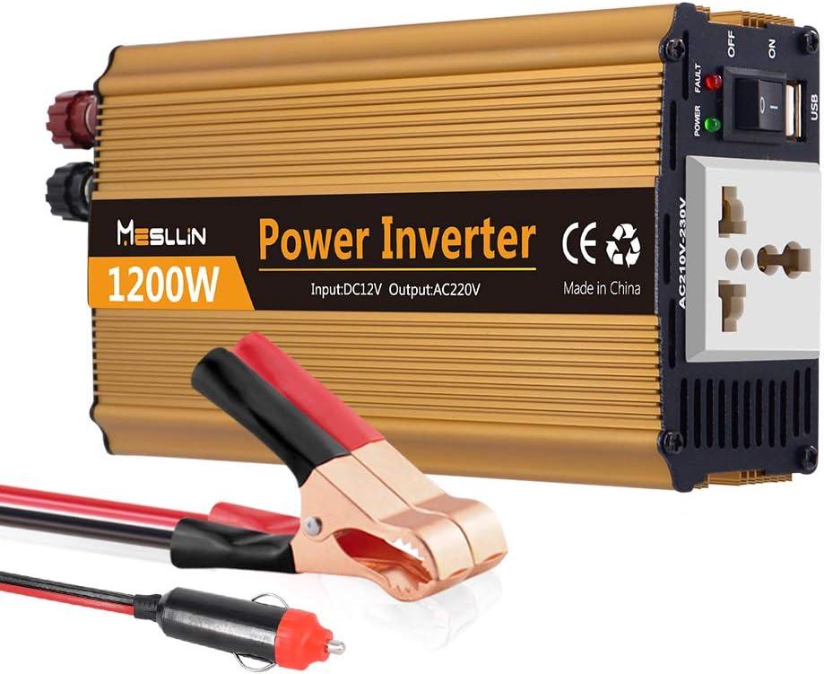 Inversor de corriente de coche Mesllin transformador de onda sinusoidal modificada 1200W transformador DC 12V a AC 240V