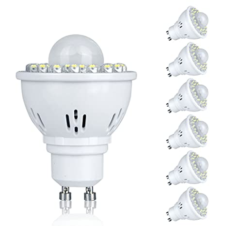 Pack de 6 GU10 2 W PIR sensor de movimiento LED bombillas Spot Lights día blanco